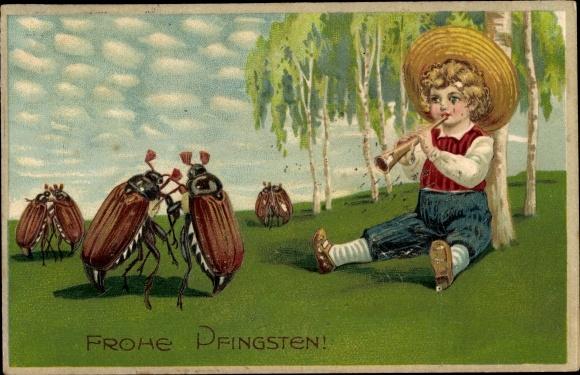 Präge Ak Glückwunsch Pfingsten, Tanzende Maikäfer, Junge spielt auf der Flöte