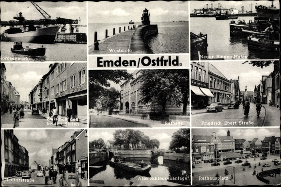 Ak Emden in Ostfriesland, Nordseewerke, Westmole, Neuer Binnenhafen, Friedrich Ebert Straße