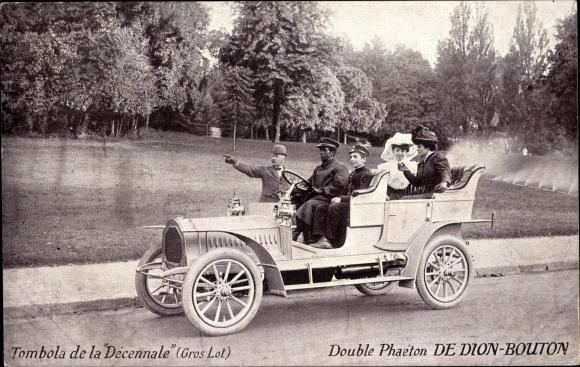 Ak Double Phaeton De Dion Bouton, Tombola de la Decennale, Offenes Automobil, Chauffeur