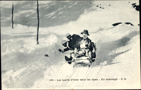 Ak Les sports d'hiver dans les alpes, En bobsleigh, Wintersport in den Alpen, Rodler, Bobschlitten