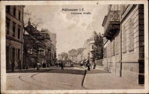 Ak Mulhouse Mülhausen Elsass Haut Rhin, Colmarer Straße, Passanten
