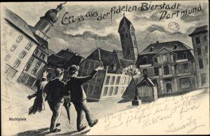 Künstler Ak Dortmund im Ruhrgebiet, Gruß aus der fidelen Bierstadt, Betrunkene
