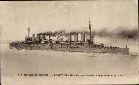 Ak Französisches Kriegsschiff, Ernest Renan, Croiseur corsaire de premier rang, Marine de Guerre