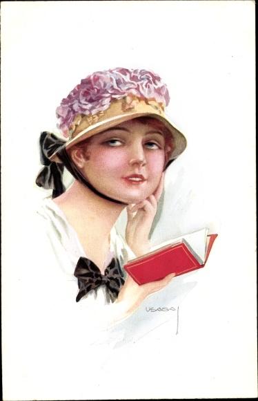 Künstler Ak Usabal, Luis, Portrait einer jungen Frau mit Hut, ein Buch lesend, RKL 308 1