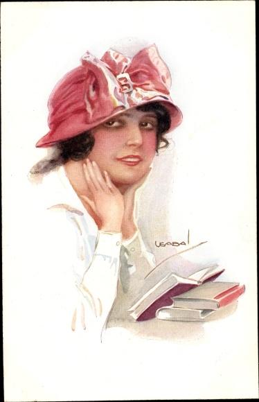 Künstler Ak Usabal, Luis, Portrait einer jungen Frau mit rotem Hut, ein Buch lesend, RKL 308 2