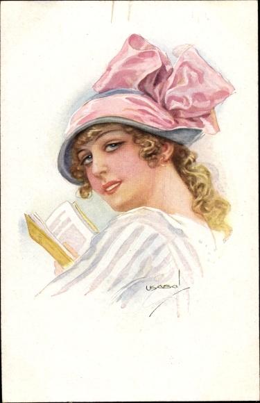Künstler Ak Usabal, Luis, Junge Frau, Portrait, Rote Schleife, Buch lesend, RKL 308 6