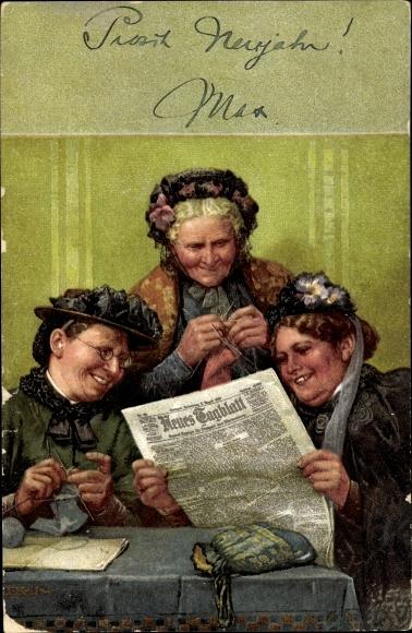 Künstler Ak Drei Frauen lesen Zeitung, Neues Tagblatt, Stricken