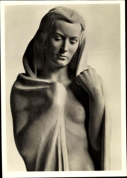 Ak Plastik von Hans Haffenrichter, Eurydike, Frauenakt