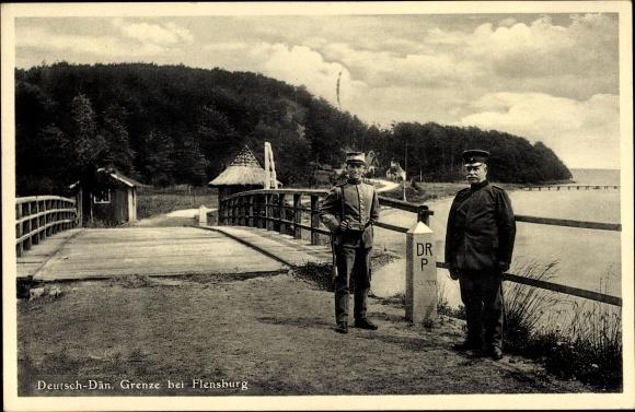 Ak Flensburg in Schleswig Holstein, Deutsch dänische Grenze