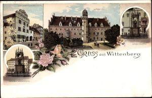 Litho Lutherstadt Wittenberg in Sachsen Anhalt, Melanchtonhaus Lutherhaus, Denkmal