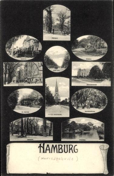 Ak Hamburg Eimsbüttel Harvestehude, Eichenpark, Klosterallee, Mittelweg, Brunnen, Moorweidenstraße