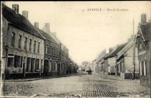 Ak Stavele Alveringem Westflandern, Vue de la Rue de Crombeke