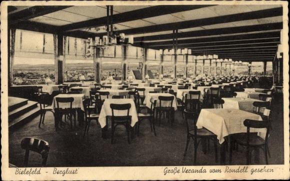 Ak Bielefeld Nordrhein Westfalen, Restaurant Berglust, Bes. Meerkamm, Große Veranda