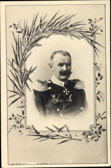 Passepartout Ak König Wilhelm II. von Württemberg, Portrait