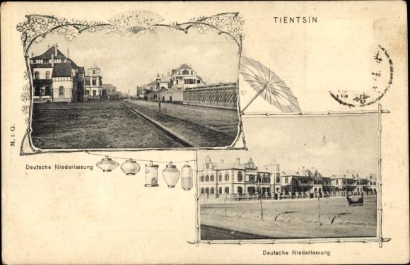 Ak Tianjin Tientsin China, Deutsche Niederlassung, Häuser, Lampions