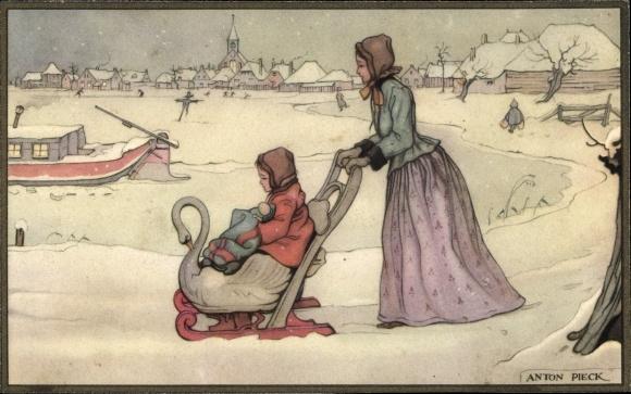 Künstler Ak Pieck, Anton, Mutter mit Kind, Schlitten, Schwan