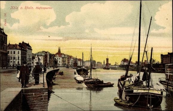Ak Köln am Rhein in Nordrhein Westfalen, Blick auf den Hafen, Stadtansicht