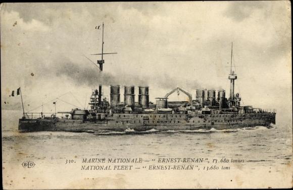 Ak Französisches Kriegsschiff, Ernest Renan, Croiseur, Marine National