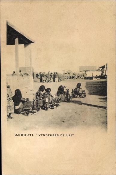 Ak Djibouti Dschibuti, Vendeuses de lait, Milchverkäuferinnen