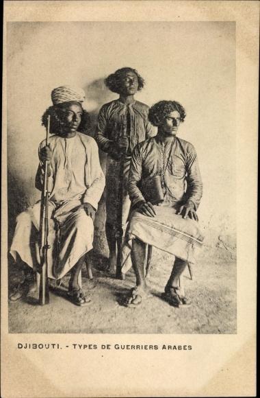 Ak Djibouti Dschibuti, Types de Guerriers Arabes, Arabische Krieger, Gewehre