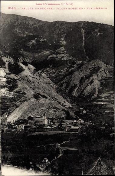 Ak Ordino Andorra, Vue générale, Ortschaft mit Landschaftsblick