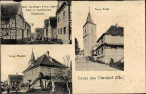 Ak Goersdorf Görsdorf Bas Rhin, Handlung von F. Nippert, Gemeindehaus, Hauptstraße, Pfarrhaus