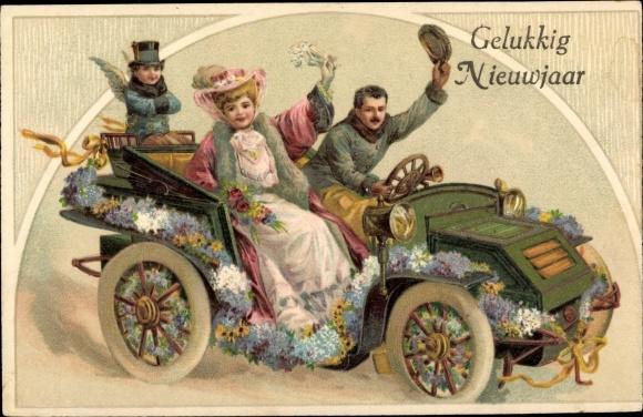 Präge Passepartout Ak Glückwunsch Neujahr, Spazierfahrt im Auto, Liebesengel