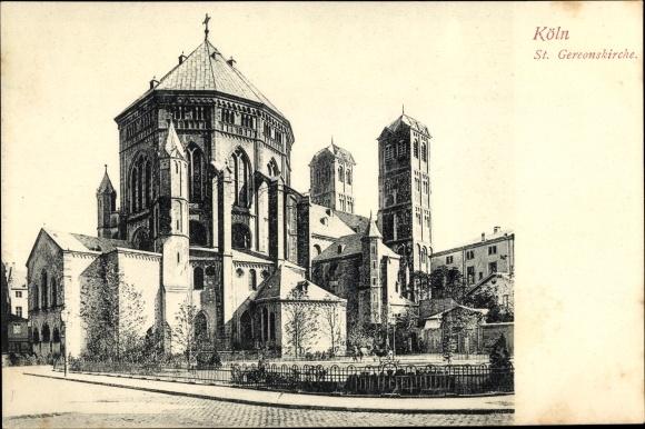 Ak Köln am Rhein in Nordrhein Westfalen, Blick auf die St. Gereon Kirche, Straßenpartie