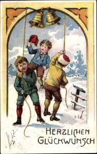 Präge Litho Glückwunsch Neujahr, Drei Jungen läuten Glocken