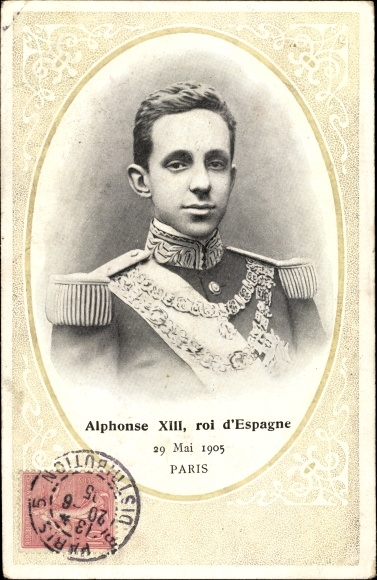 Passepartout Ak Alphonse XIII, roi d'Espagne, König Alfons XIII von Spanien, Portrait