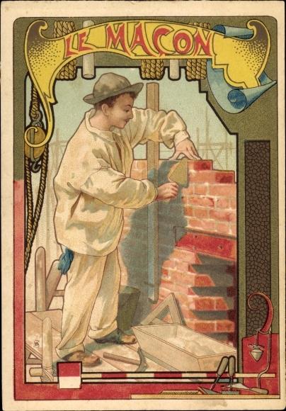 Jugendstil Litho Le Macon, Maurer baut eine Mauer, Ziegelsteine, Kelle