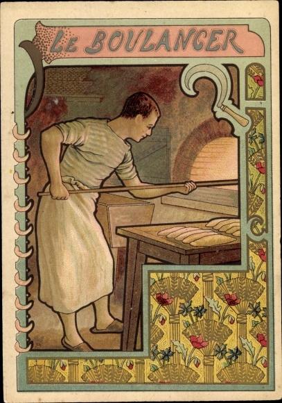 Jugendstil Litho Le Boulanger, Bäcker schiebt Brote in den Backofen, Sichel, Getreideähren
