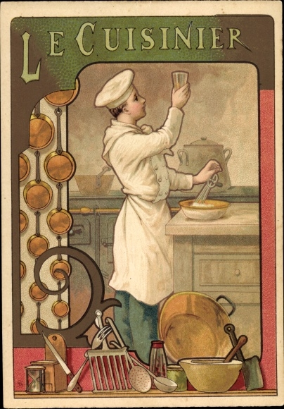 Jugendstil Litho Le Cuisinier, Koch in der Küche, Sanduhr, Pfannen, Kelle
