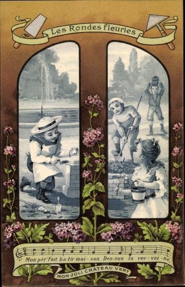 Lied Litho Mon Joli Chateau Vert, Les Rondes fleuries, Maurer bauen eine Mauer