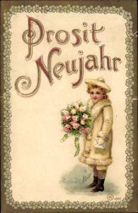 Präge Litho Glückwunsch Neujahr, Mädchen mit Rosenstrauß