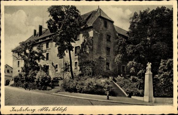 Ak Tschernjachowsk Insterburg Ostpreußen, Partie am alten Schloss