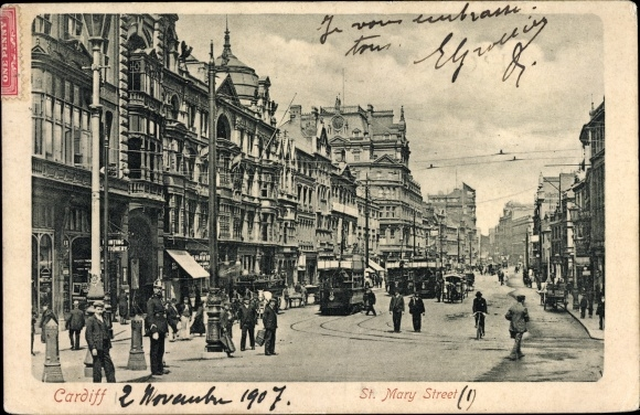 Ak Cardiff Wales, View of the St. Mary Street