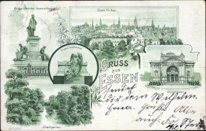 Litho Essen im Ruhrgebiet Nordrhein Westfalen, Krupp Denkmal, Stadttheater, Stadtgarten