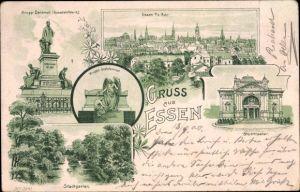 Litho Essen im Ruhrgebiet Nordrhein Westfalen, Krupp Denkmal, Stadtgarten, Stadttheater