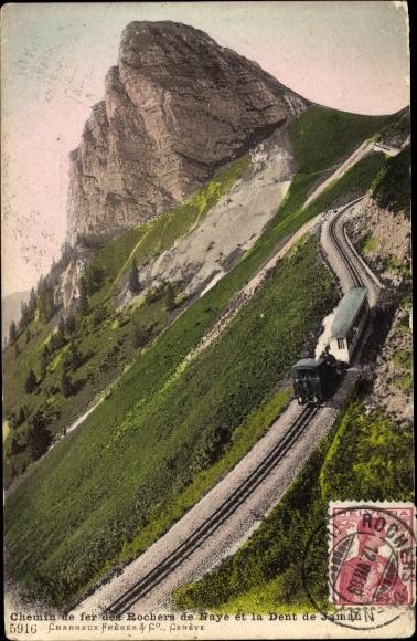 Ak Kt. Waadt Schweiz, Chemin de fer des Rochers de Naye et la Dent de Jaman, Zahnradbahn