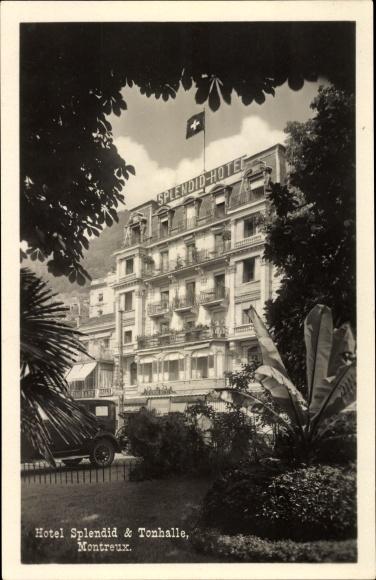 Ak Montreux Kt. Waadt Schweiz, Hotel Splendid und Tonhalle