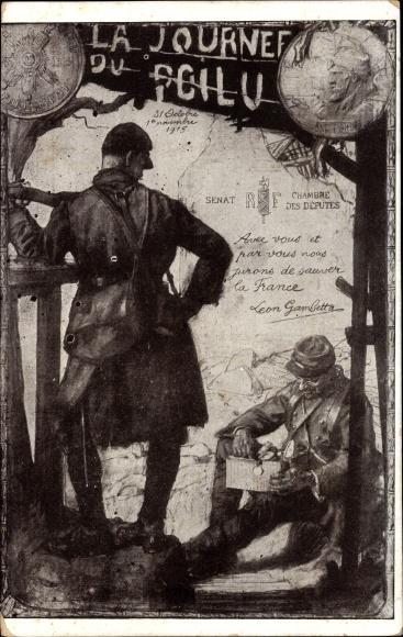 Künstler Ak La Journee du Poilu, 31 Octobre 1915, französische Soldaten, I. WK