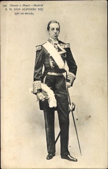 Ak König Alfons XIII. von Spanien, Portrait in Uniform