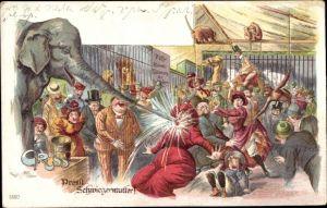 Litho Prosit Schwiegermutter, Elefant, Affen, Kamel, Löwen, Zoo, Fütterung der Raubtiere