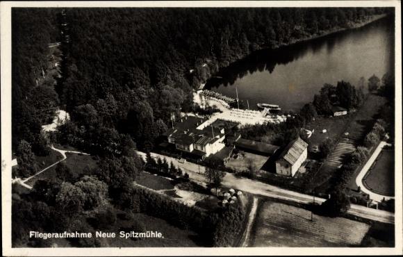 Ak Strausberg in Brandenburg, Fliegeraufnahme, Neue Spitzmühle, Klinke & Co.
