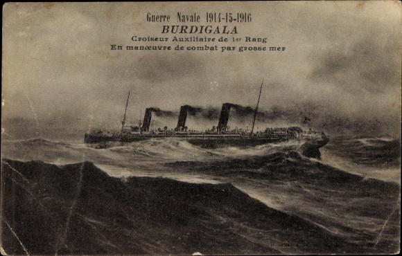 Ak Französisches Kriegsschiff, Burdigala, Croiseur Auxiliaire de 1er Rang