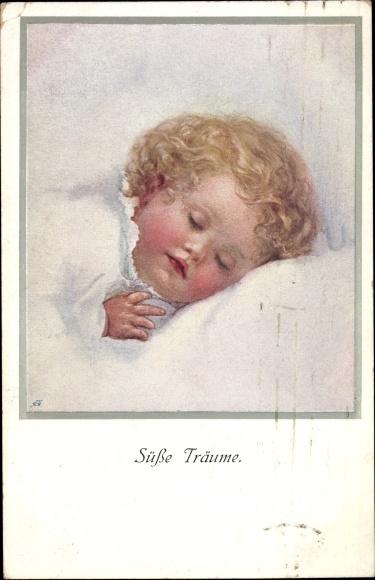 Künstler Ak Süße Träume, Portrait von einem schlafenden blonden Kind, Munk 923