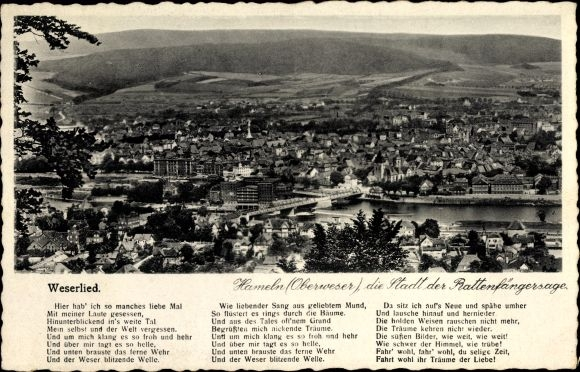 Lied Ak Hameln in Niedersachsen, Gesamtansicht vom Ort, Weserlied