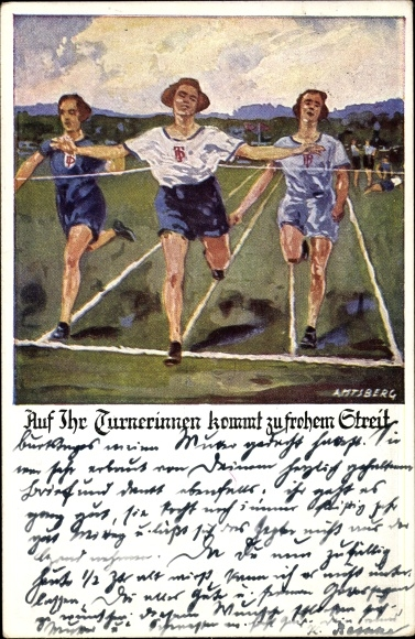 Künstler Ak Amtsberg, Otto, Drei Läuferinnen laufen in der Ziellinie ein