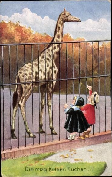 Künstler Ak Kinder im Zoo, Die mag keinen Kuchen, Giraffe